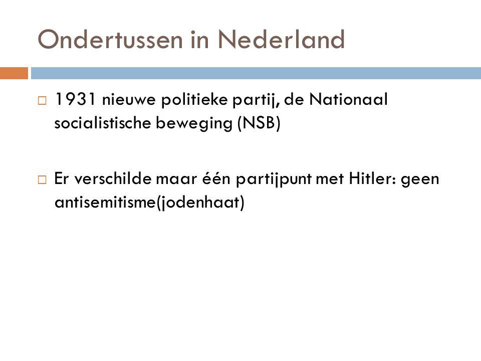 Ondertussen in Nederland  1931 nieuwe politieke partij, de Nationaal socialistische beweging (NSB)  Er verschilde maar één partijpunt met Hitler: ge