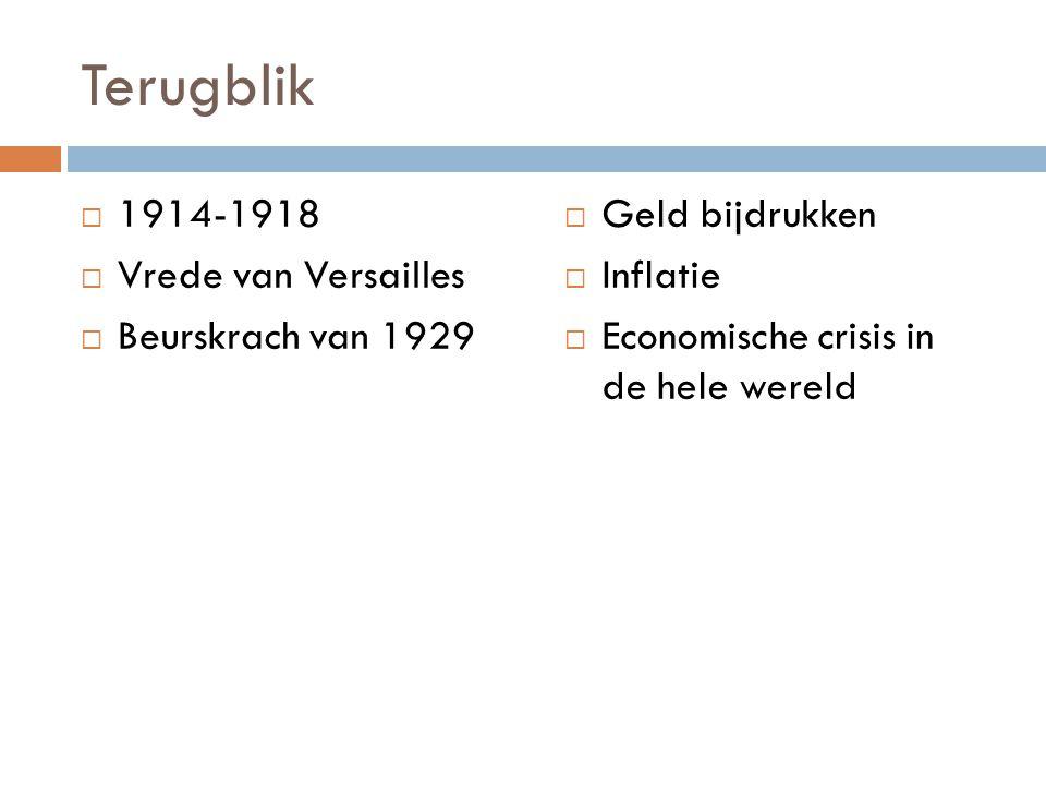 Terugblik  1914-1918  Vrede van Versailles  Beurskrach van 1929  Geld bijdrukken  Inflatie  Economische crisis in de hele wereld