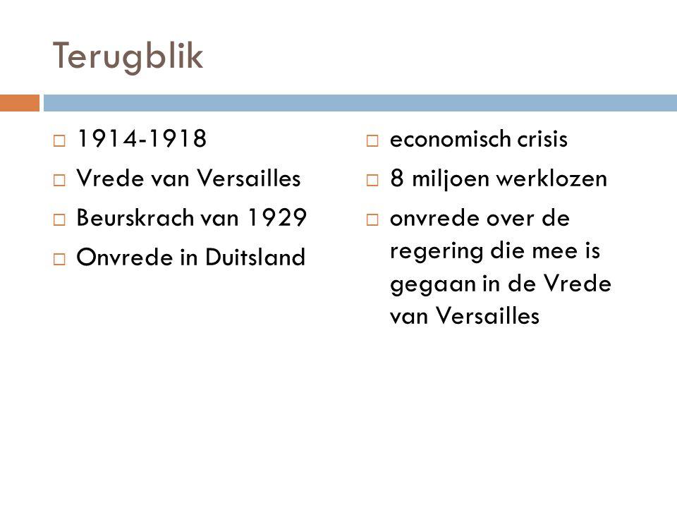 Terugblik  1914-1918  Vrede van Versailles  Beurskrach van 1929  Onvrede in Duitsland  economisch crisis  8 miljoen werklozen  onvrede over de