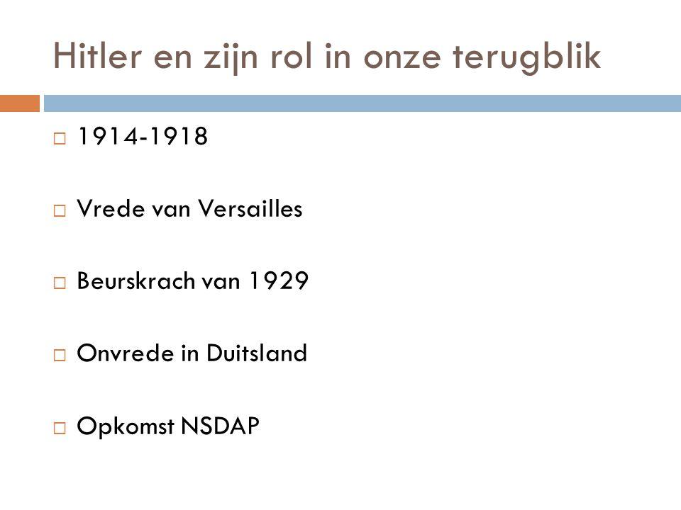 Hitler en zijn rol in onze terugblik  1914-1918  Vrede van Versailles  Beurskrach van 1929  Onvrede in Duitsland  Opkomst NSDAP