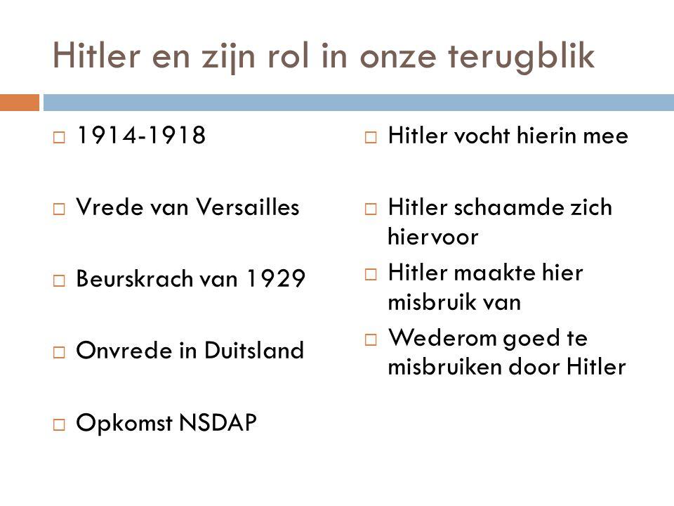 Hitler en zijn rol in onze terugblik  1914-1918  Vrede van Versailles  Beurskrach van 1929  Onvrede in Duitsland  Opkomst NSDAP  Hitler vocht hi