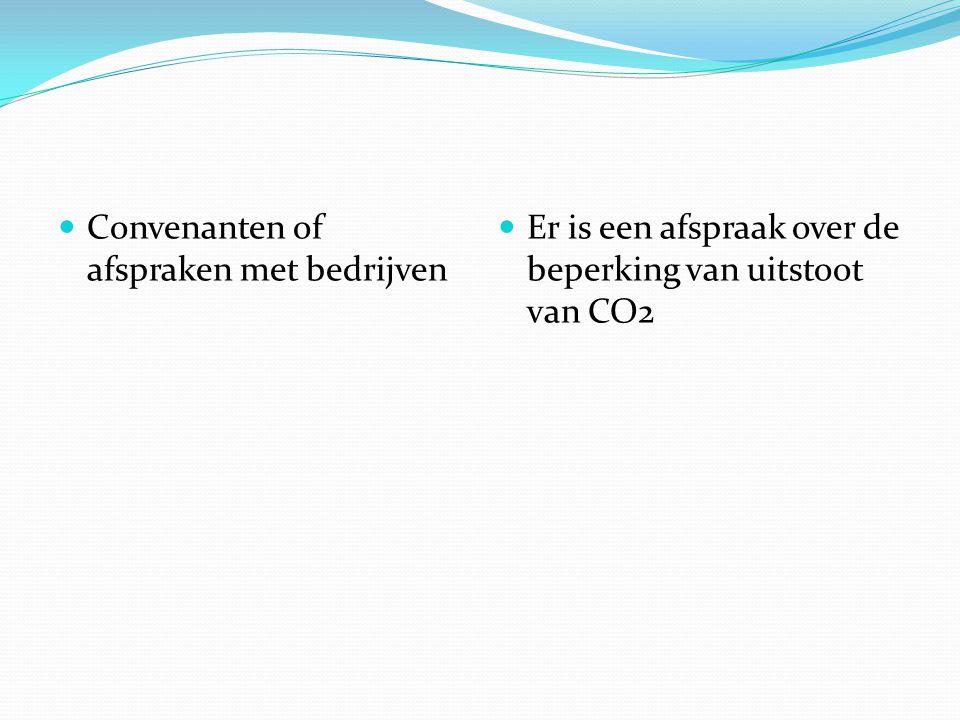 Convenanten of afspraken met bedrijven Er is een afspraak over de beperking van uitstoot van CO2