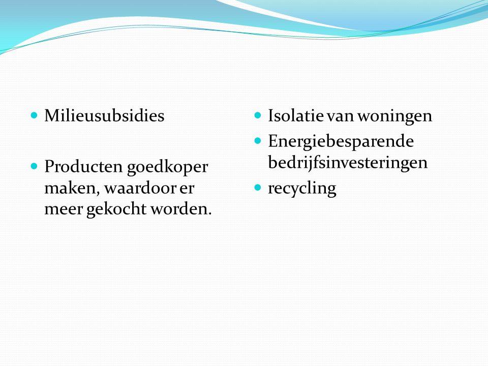Milieubeleid in de particuliere sector Bedrijven Consumenten en milieuorganisaties Recycling