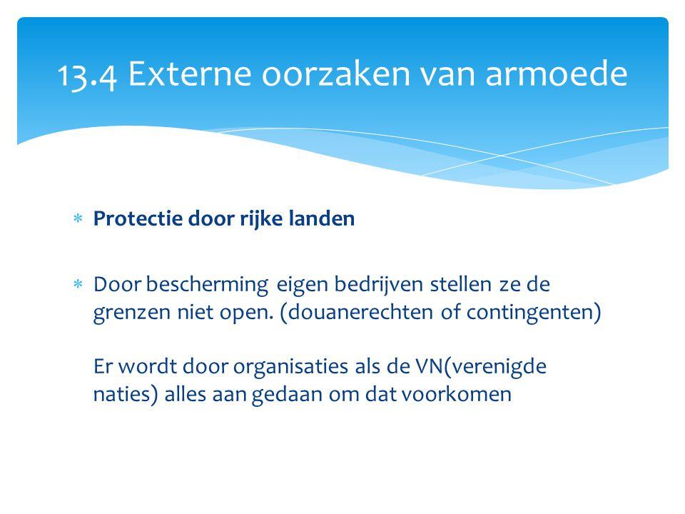  Protectie door rijke landen  Door bescherming eigen bedrijven stellen ze de grenzen niet open. (douanerechten of contingenten) Er wordt door organi