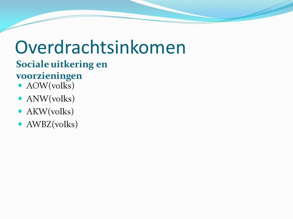 Overdrachtsinkomen Sociale uitkering en voorzieningen AOW(volks) ANW(volks) AKW(volks) AWBZ(volks)
