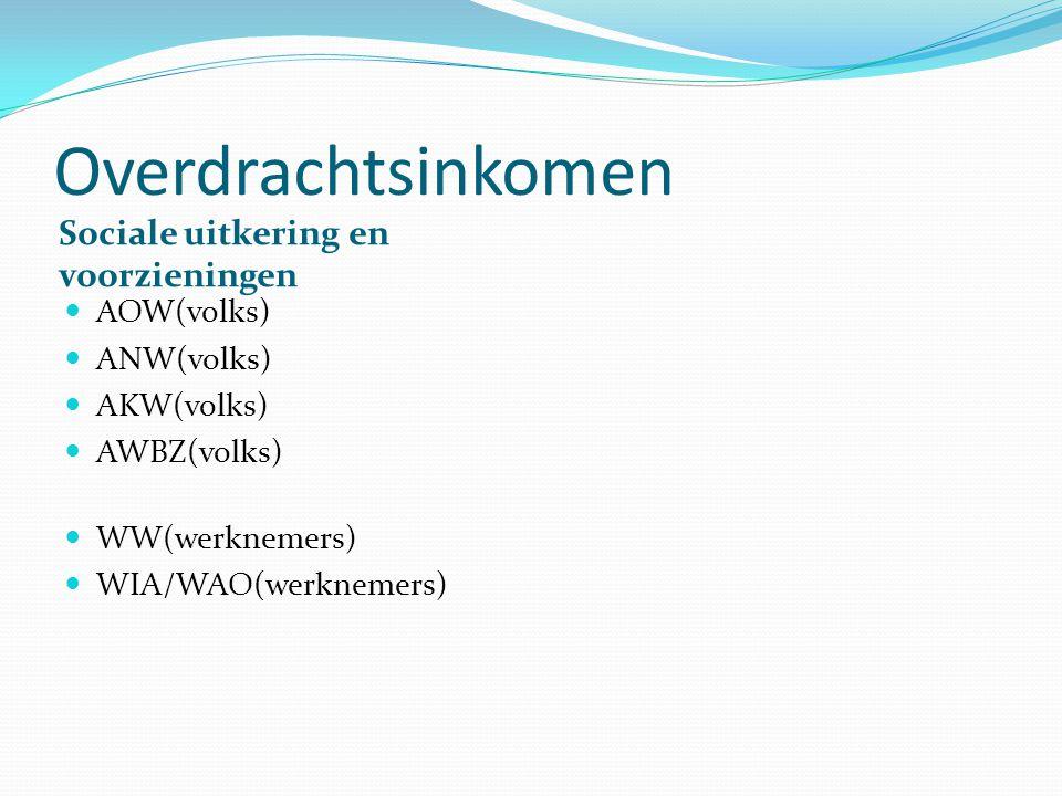Overdrachtsinkomen Sociale uitkering en voorzieningen AOW(volks) ANW(volks) AKW(volks) AWBZ(volks) WW(werknemers) WIA/WAO(werknemers)
