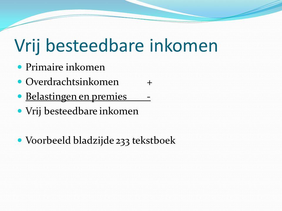 Primaire inkomen Overdrachtsinkomen + Belastingen en premies - Vrij besteedbare inkomen Voorbeeld bladzijde 233 tekstboek