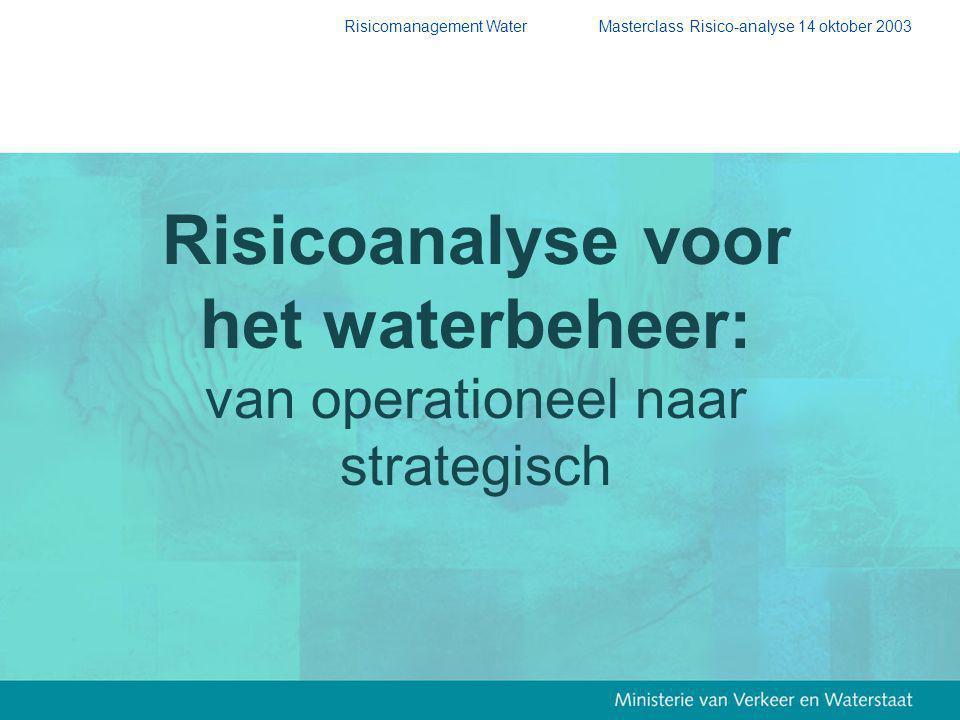 Risicomanagement Water Masterclass Risico-analyse 14 oktober 2003 Risicoanalyse voor het waterbeheer: van operationeel naar strategisch