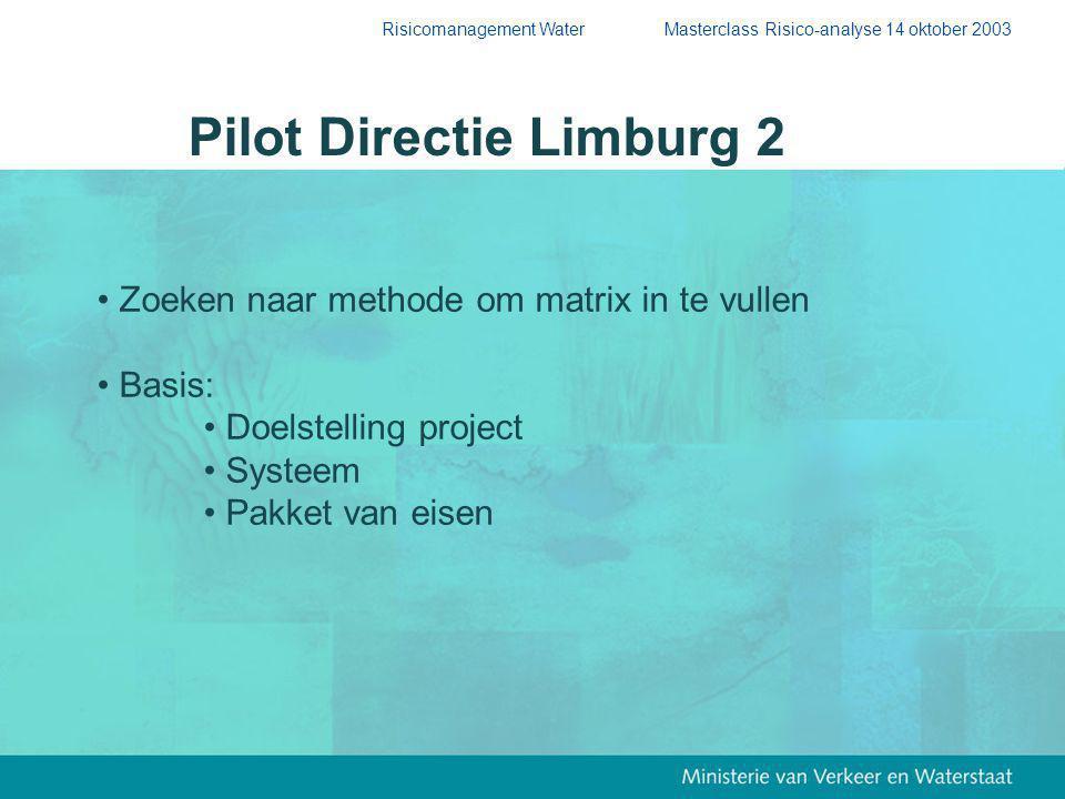 Risicomanagement Water Masterclass Risico-analyse 14 oktober 2003 Pilot Directie Limburg 2 Zoeken naar methode om matrix in te vullen Basis: Doelstelling project Systeem Pakket van eisen