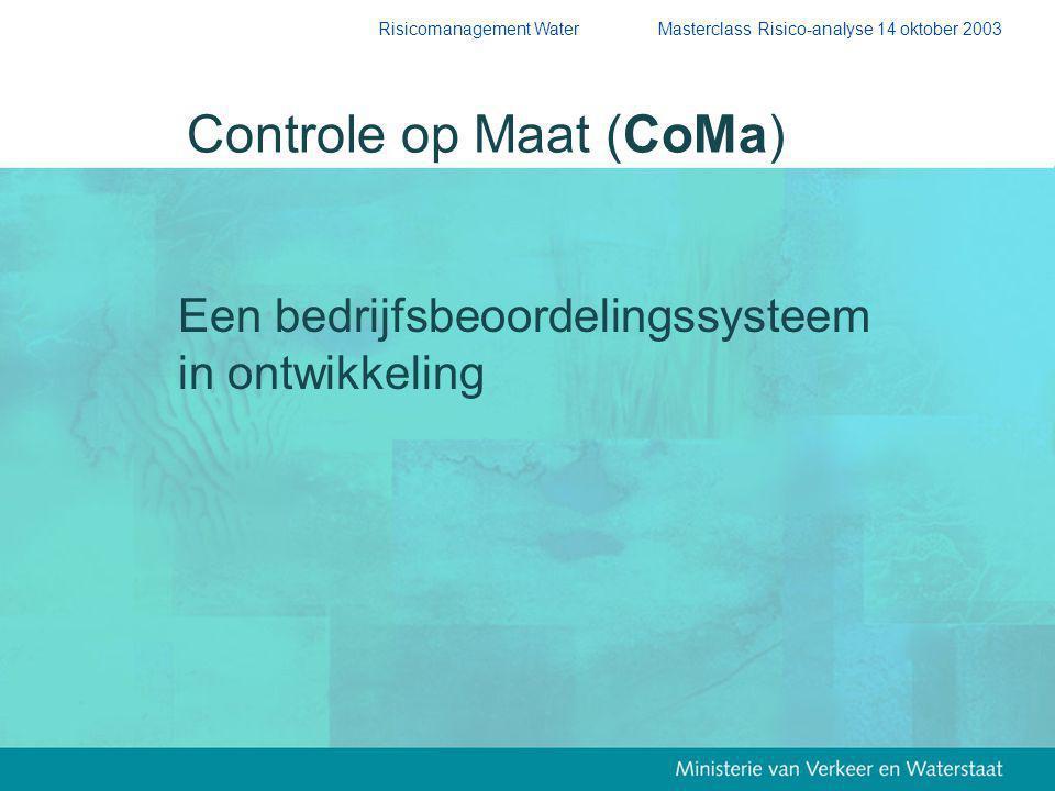 Risicomanagement Water Masterclass Risico-analyse 14 oktober 2003 Een bedrijfsbeoordelingssysteem in ontwikkeling Controle op Maat (CoMa)