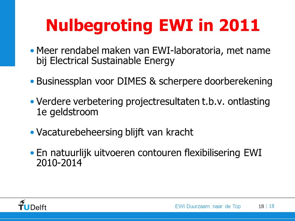 18 EWI Duurzaam naar de Top | 18 Nulbegroting EWI in 2011 Meer rendabel maken van EWI-laboratoria, met name bij Electrical Sustainable Energy Business