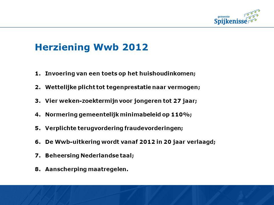Herziening Wwb 2012 1.Invoering van een toets op het huishoudinkomen; 2.Wettelijke plicht tot tegenprestatie naar vermogen; 3.Vier weken-zoektermijn v