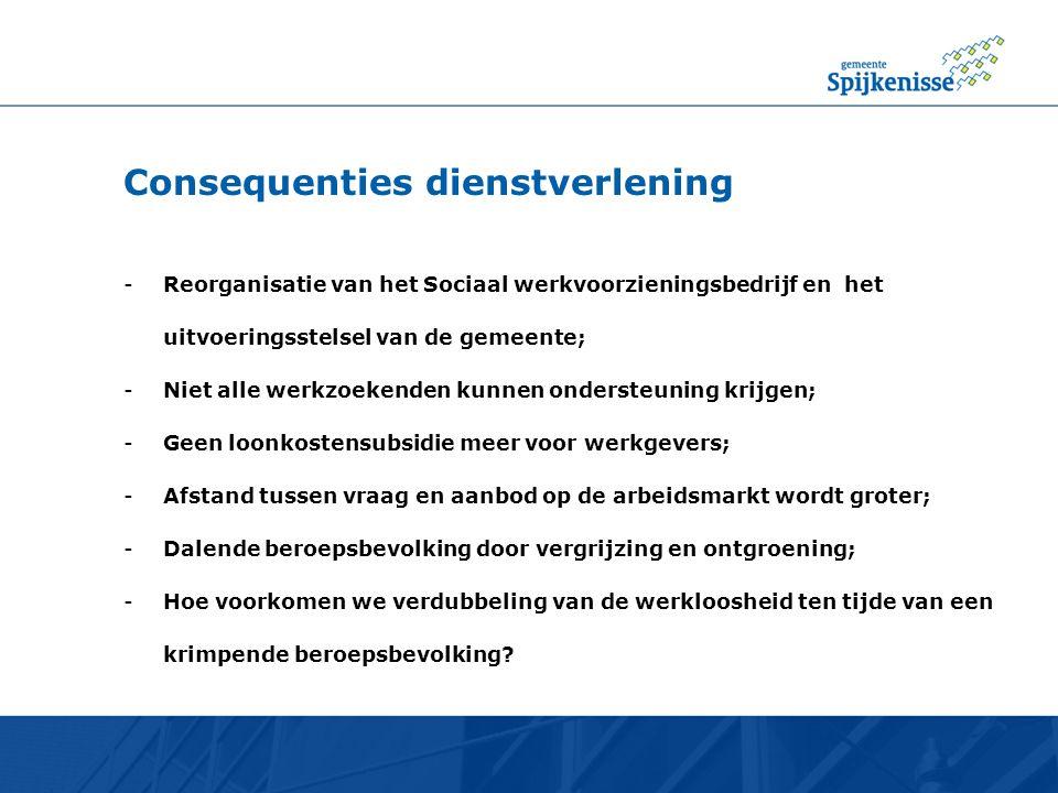 Consequenties dienstverlening -Reorganisatie van het Sociaal werkvoorzieningsbedrijf en het uitvoeringsstelsel van de gemeente; -Niet alle werkzoekend