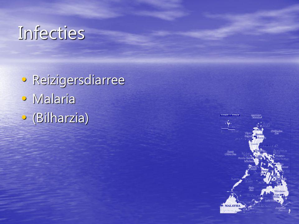 Infecties Reizigersdiarree Reizigersdiarree Malaria Malaria (Bilharzia) (Bilharzia)
