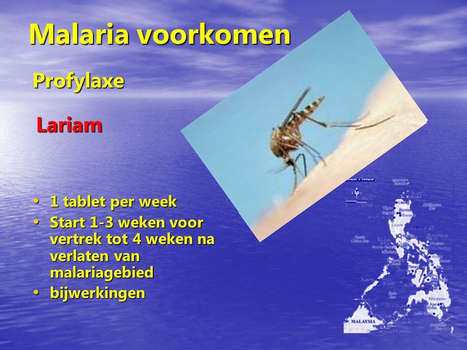 Malaria voorkomen 1 tablet per week 1 tablet per week Start 1-3 weken voor vertrek tot 4 weken na verlaten van malariagebied Start 1-3 weken voor vert