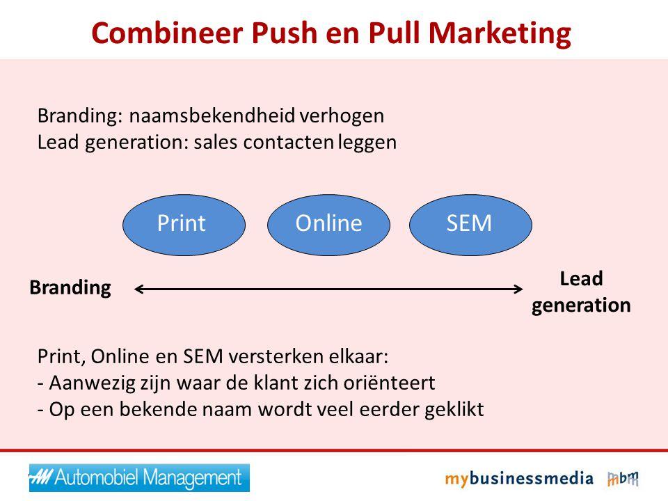 Branding: naamsbekendheid verhogen Lead generation: sales contacten leggen Print, Online en SEM versterken elkaar: - Aanwezig zijn waar de klant zich