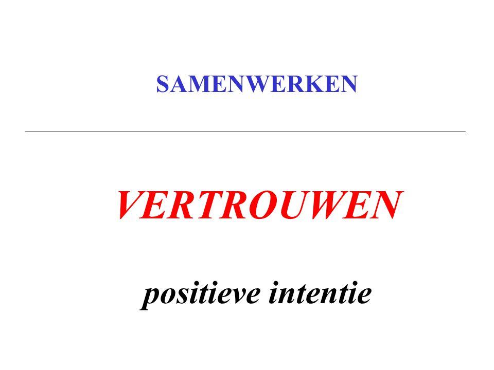 SAMENWERKEN VERTROUWEN positieve intentie