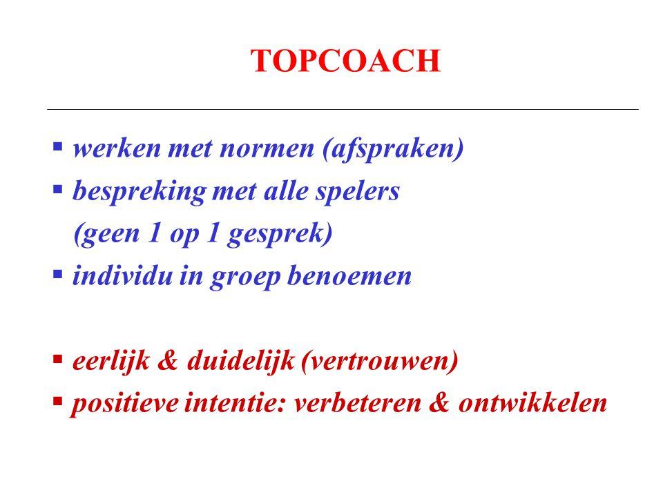 TOPCOACH  werken met normen (afspraken)  bespreking met alle spelers (geen 1 op 1 gesprek)  individu in groep benoemen  eerlijk & duidelijk (vertr