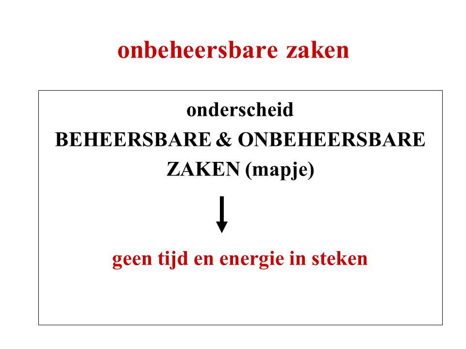 onbeheersbare zaken onderscheid BEHEERSBARE & ONBEHEERSBARE ZAKEN (mapje) geen tijd en energie in steken