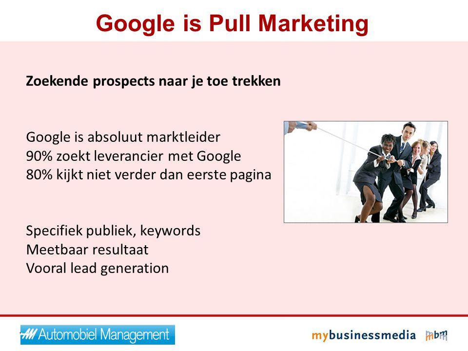 Zoekende prospects naar je toe trekken Google is absoluut marktleider 90% zoekt leverancier met Google 80% kijkt niet verder dan eerste pagina Specifi