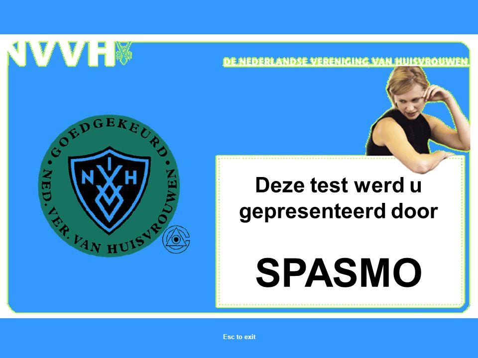 Deze test werd u gepresenteerd door SPASMO Esc to exit