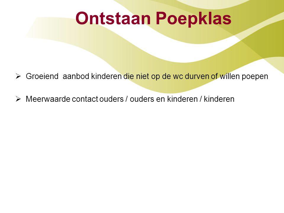 Ontstaan Poepklas  Groeiend aanbod kinderen die niet op de wc durven of willen poepen  Meerwaarde contact ouders / ouders en kinderen / kinderen