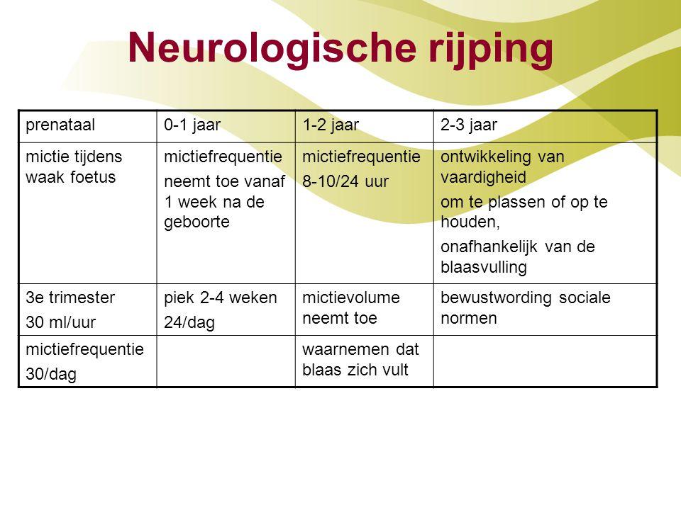 Neurologische rijping prenataal0-1 jaar1-2 jaar2-3 jaar mictie tijdens waak foetus mictiefrequentie neemt toe vanaf 1 week na de geboorte mictiefreque