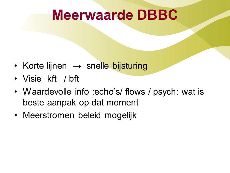 Meerwaarde DBBC Korte lijnen → snelle bijsturing Visie kft / bft Waardevolle info :echo's/ flows / psych: wat is beste aanpak op dat moment Meerstromen beleid mogelijk