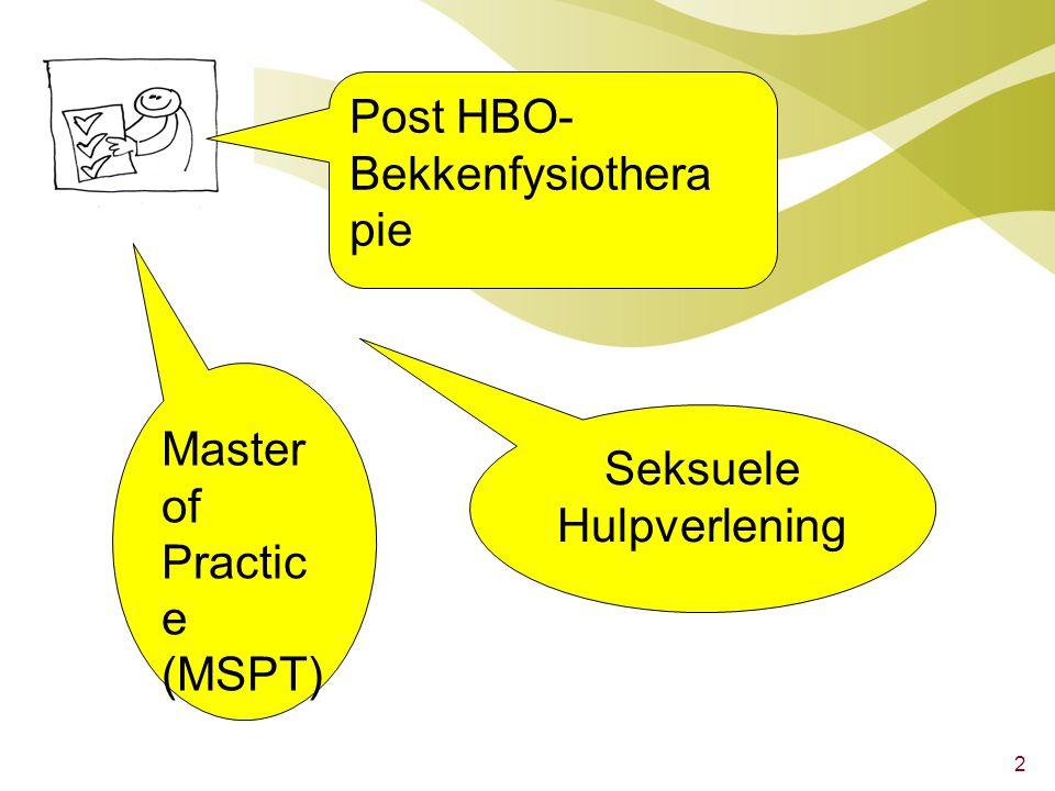 2 Post HBO- Bekkenfysiothera pie Master of Practic e (MSPT) Seksuele Hulpverlening