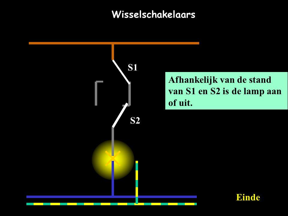 Afhankelijk van de stand van S1 en S2 is de lamp aan of uit. S1 S2 Wisselschakelaars EEinde