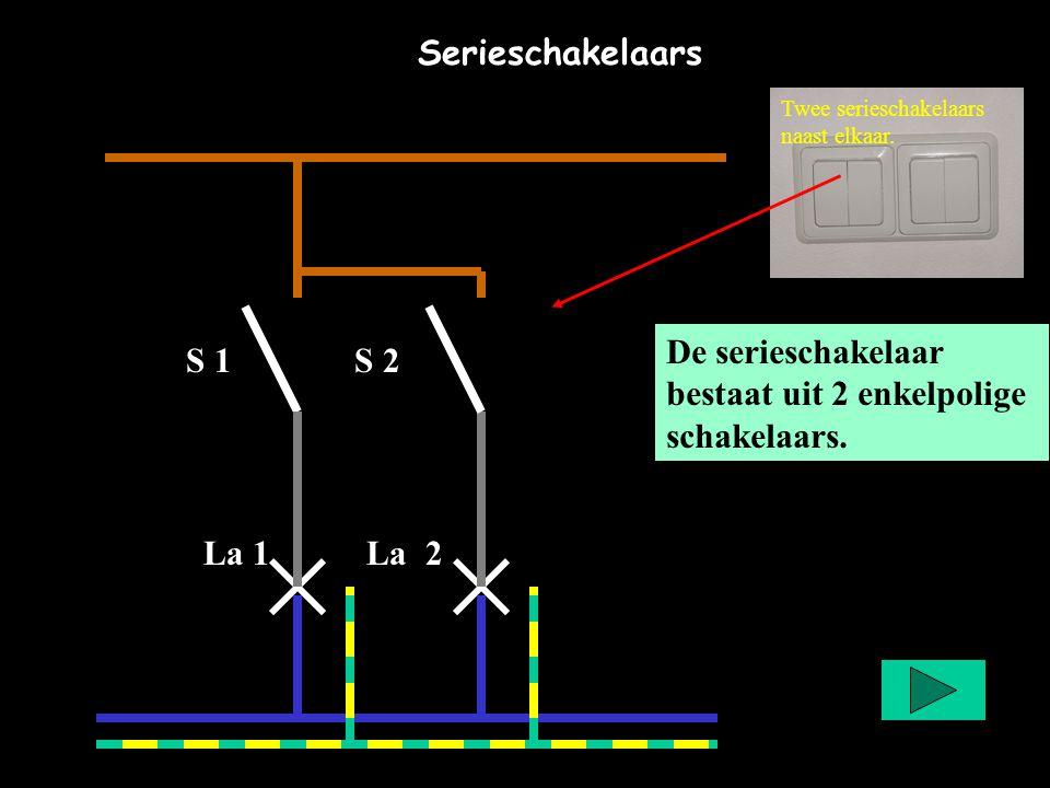 Serieschakelaars De serieschakelaar bestaat uit 2 enkelpolige schakelaars. Twee serieschakelaars naast elkaar. S 1 S 2 La 1 La 2