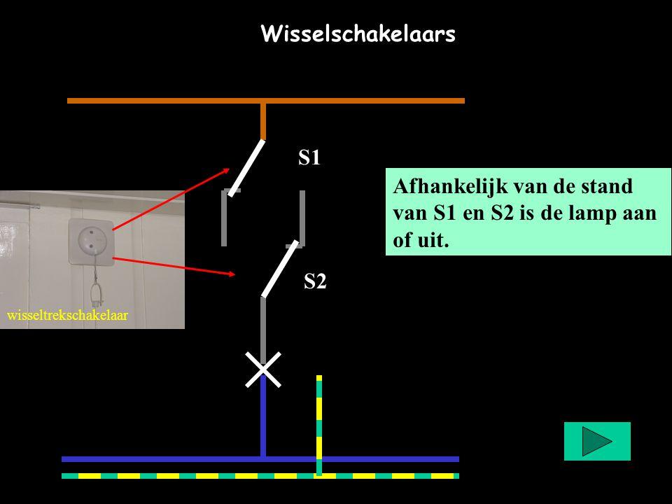 Afhankelijk van de stand van S1 en S2 is de lamp aan of uit. wisseltrekschakelaar S2 S1 Wisselschakelaars