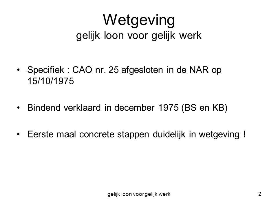 gelijk loon voor gelijk werk2 Wetgeving gelijk loon voor gelijk werk Specifiek : CAO nr. 25 afgesloten in de NAR op 15/10/1975 Bindend verklaard in de