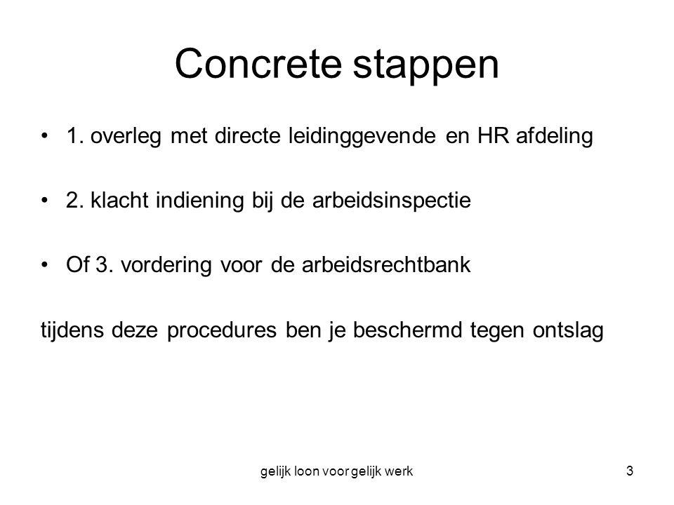 gelijk loon voor gelijk werk3 Concrete stappen 1. overleg met directe leidinggevende en HR afdeling 2. klacht indiening bij de arbeidsinspectie Of 3.