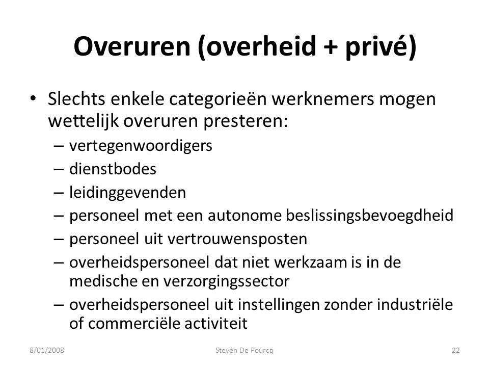 Overuren (overheid + privé) Slechts enkele categorieën werknemers mogen wettelijk overuren presteren: – vertegenwoordigers – dienstbodes – leidinggeve