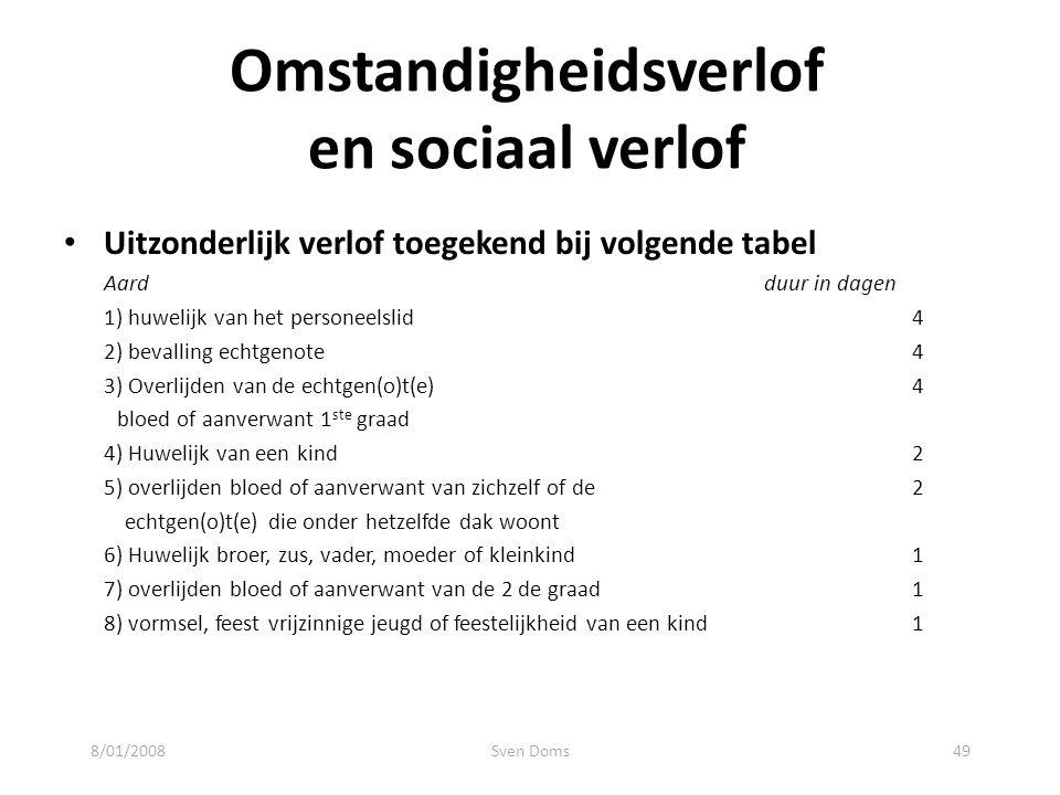 Omstandigheidsverlof en sociaal verlof Uitzonderlijk verlof toegekend bij volgende tabel Aard duur in dagen 1) huwelijk van het personeelslid4 2) beva