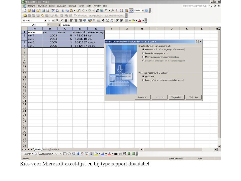 Kies voor Microsoft excel-lijst en bij type rapport draaitabel