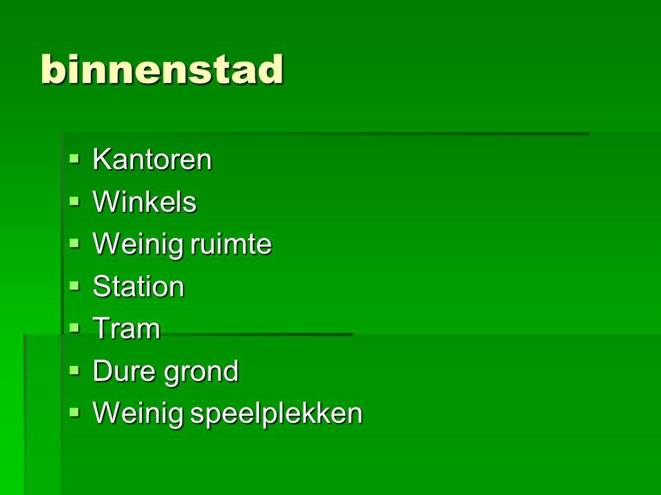 binnenstad  Kantoren  Winkels  Weinig ruimte  Station  Tram  Dure grond  Weinig speelplekken