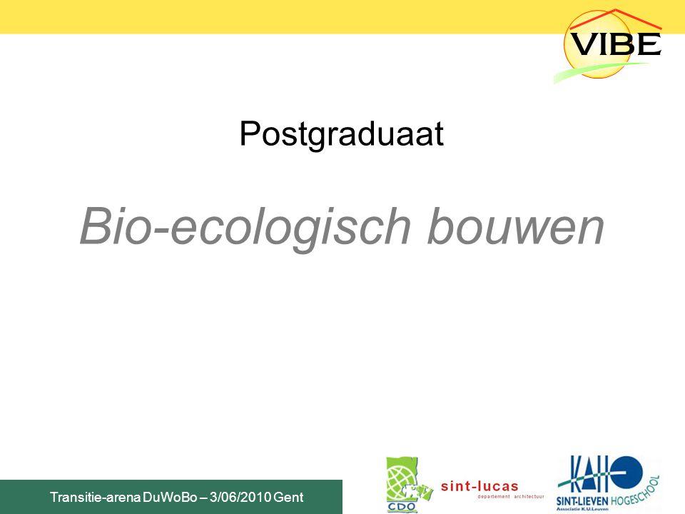 Transitie-arena DuWoBo – 3/06/2010 Gent Postgraduaat Bio-ecologisch bouwen