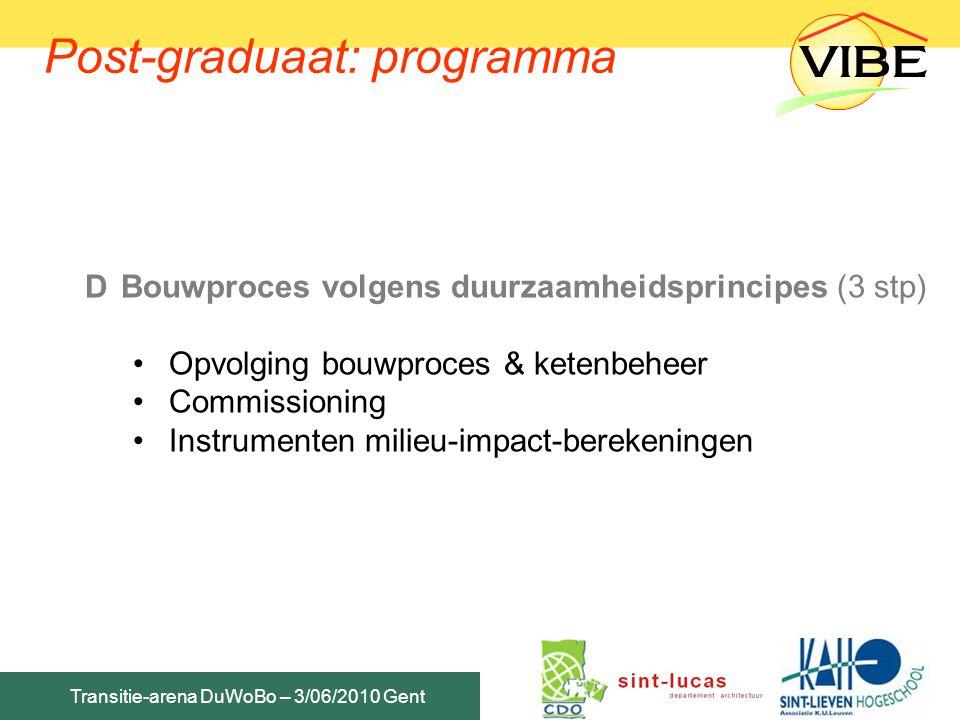 Transitie-arena DuWoBo – 3/06/2010 Gent DBouwproces volgens duurzaamheidsprincipes (3 stp) Opvolging bouwproces & ketenbeheer Commissioning Instrument