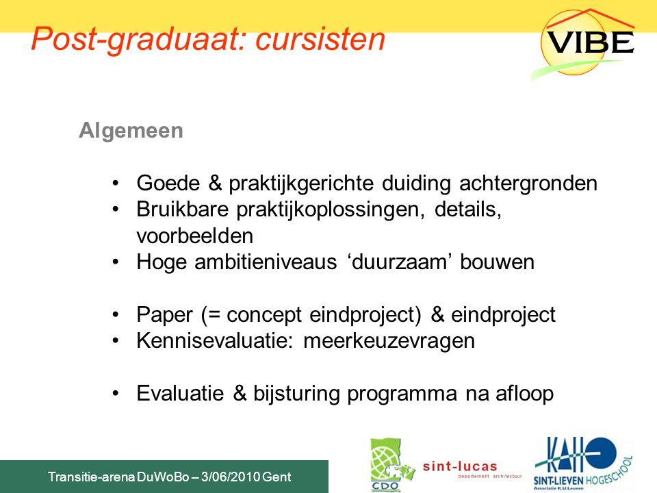 Transitie-arena DuWoBo – 3/06/2010 Gent Post-graduaat: cursisten Algemeen Goede & praktijkgerichte duiding achtergronden Bruikbare praktijkoplossingen