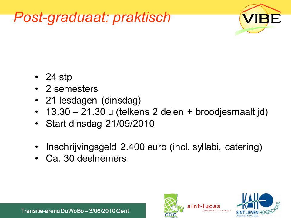 Transitie-arena DuWoBo – 3/06/2010 Gent Post-graduaat: praktisch 24 stp 2 semesters 21 lesdagen (dinsdag) 13.30 – 21.30 u (telkens 2 delen + broodjesm