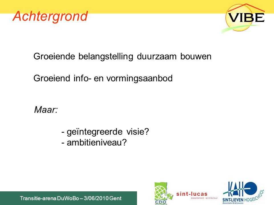 Transitie-arena DuWoBo – 3/06/2010 Gent Achtergrond Groeiende belangstelling duurzaam bouwen Groeiend info- en vormingsaanbod Maar: - geïntegreerde vi