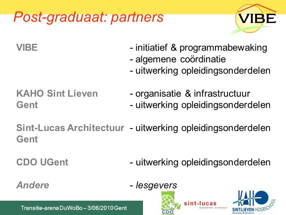 Transitie-arena DuWoBo – 3/06/2010 Gent Post-graduaat: geïntegreerde visie Bio-ecologisch bouwen - energie - water - bouwmaterialen & grondstoffen - ecologische RO & stedenbouw Milieu Gezondheid Duurzame ontwikkeling !!.