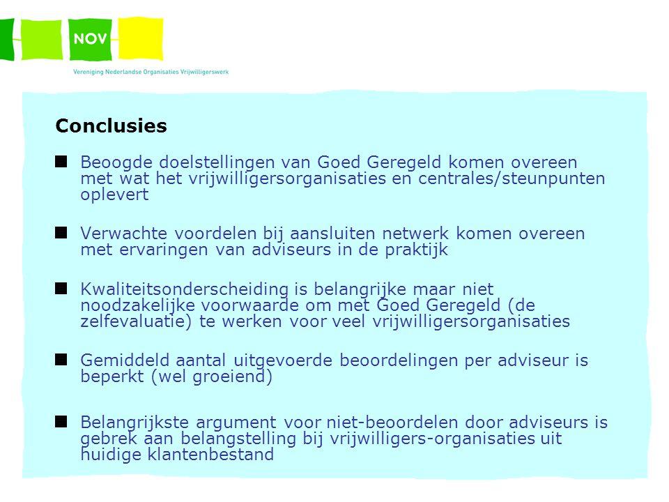 Conclusies Beoogde doelstellingen van Goed Geregeld komen overeen met wat het vrijwilligersorganisaties en centrales/steunpunten oplevert Verwachte vo