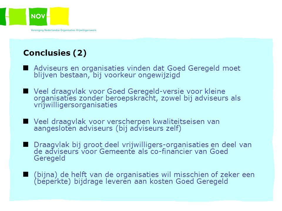 Conclusies (2) Adviseurs en organisaties vinden dat Goed Geregeld moet blijven bestaan, bij voorkeur ongewijzigd Veel draagvlak voor Goed Geregeld-ver