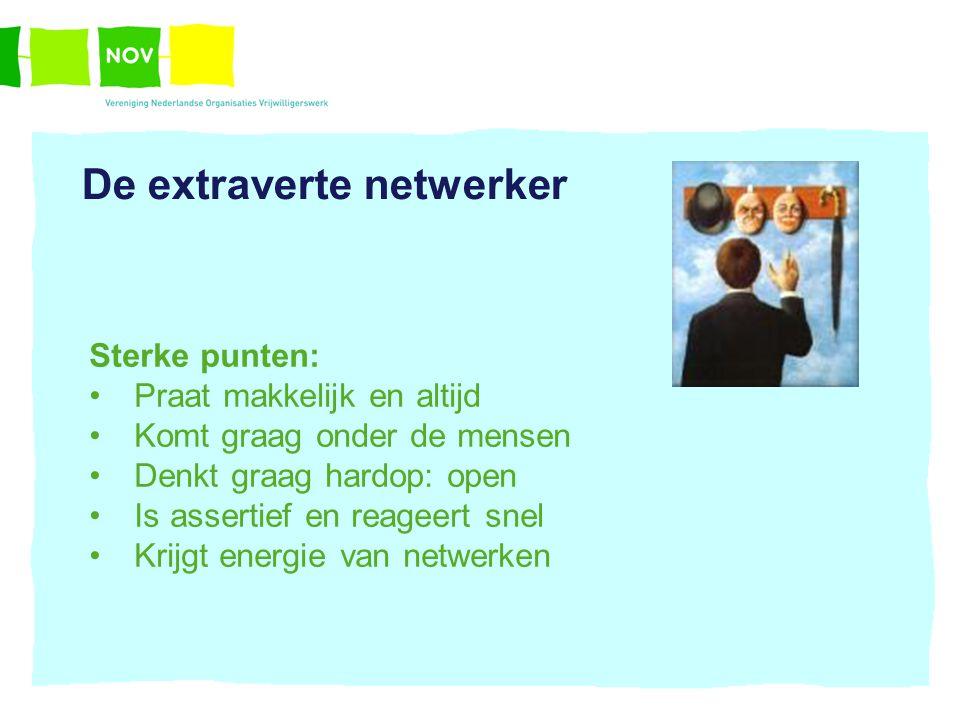 De extraverte netwerker Sterke punten: Praat makkelijk en altijd Komt graag onder de mensen Denkt graag hardop: open Is assertief en reageert snel Kri