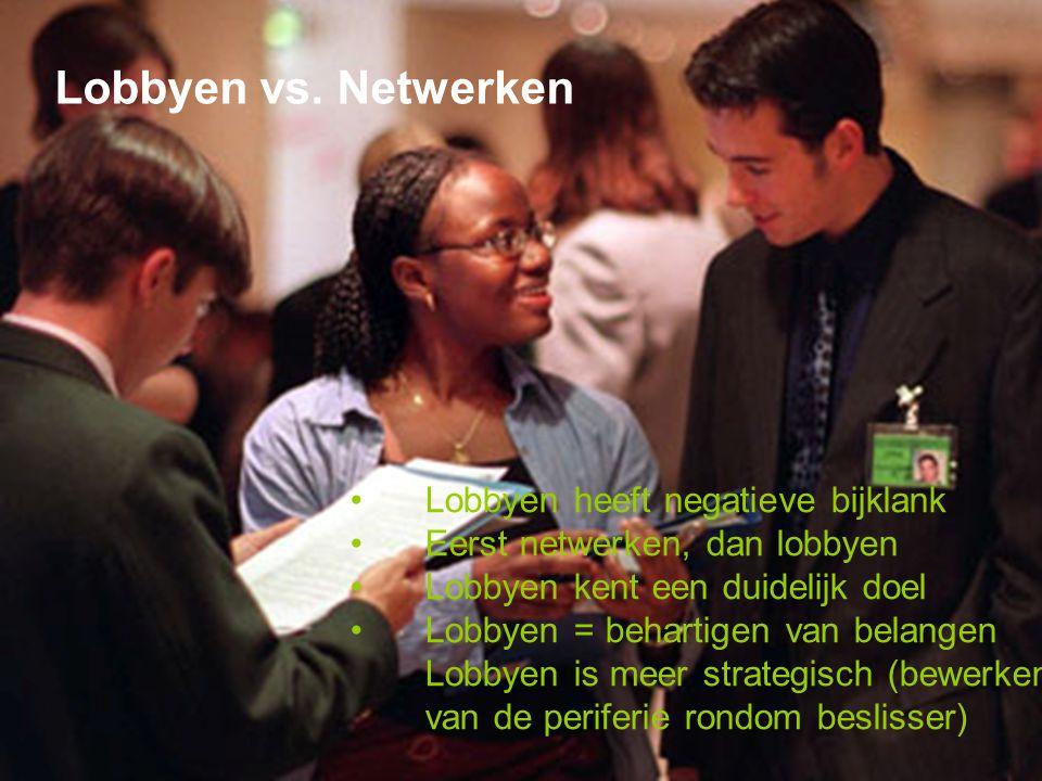 Lobbyen vs. Netwerken Lobbyen heeft negatieve bijklank Eerst netwerken, dan lobbyen Lobbyen kent een duidelijk doel Lobbyen = behartigen van belangen