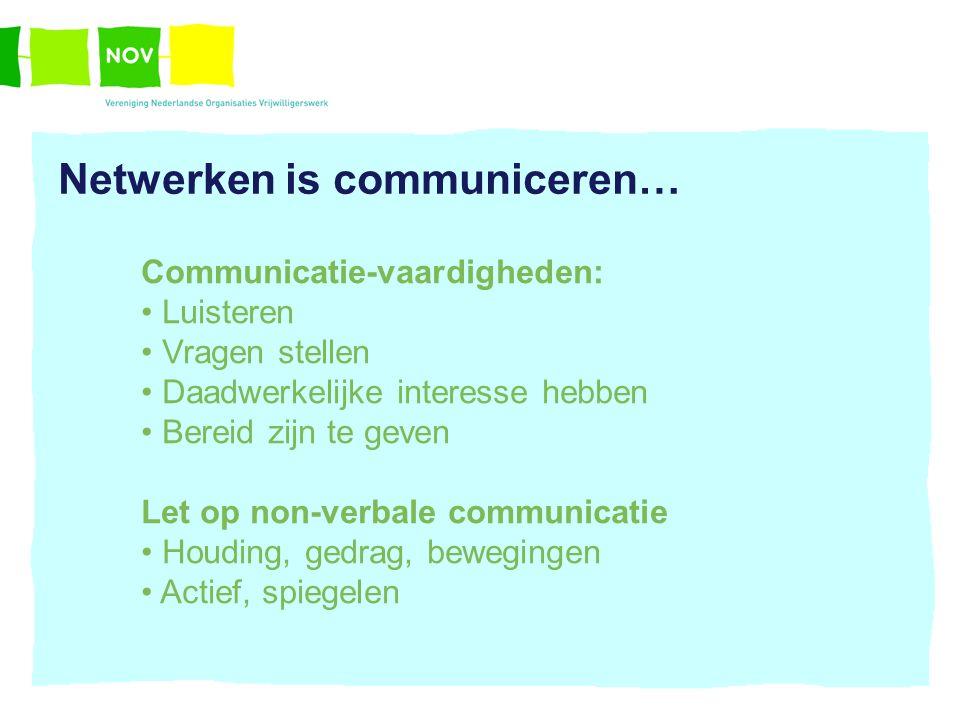 Netwerken is communiceren… Communicatie-vaardigheden: Luisteren Vragen stellen Daadwerkelijke interesse hebben Bereid zijn te geven Let op non-verbale