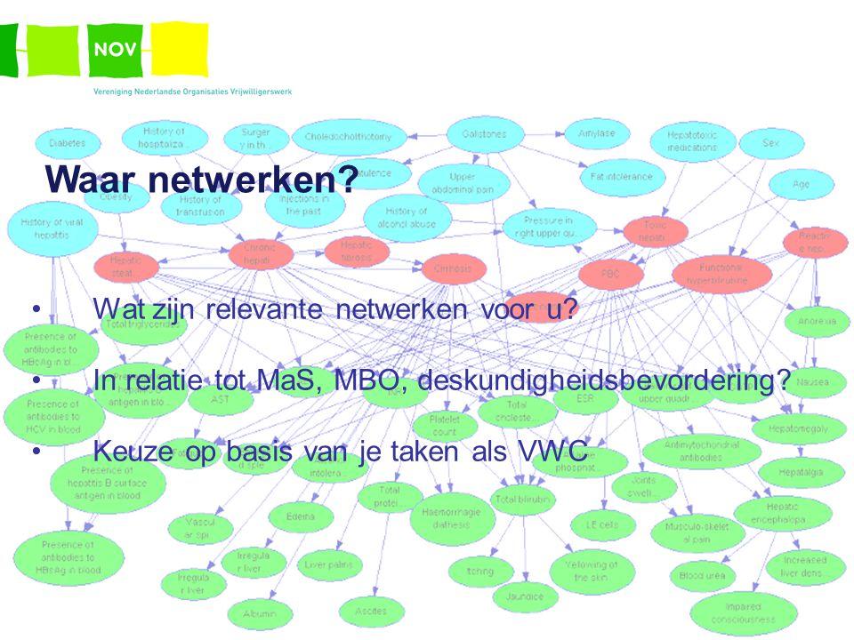 Waar netwerken? Wat zijn relevante netwerken voor u? In relatie tot MaS, MBO, deskundigheidsbevordering? Keuze op basis van je taken als VWC